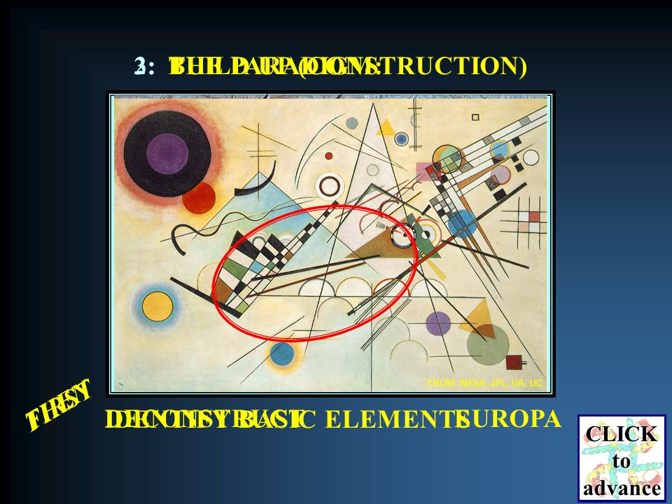 DECONSTRUCT IDENTIFY BASIC ELEMENTS EUROPA FROM: NASA, JPL, UA, UC.
