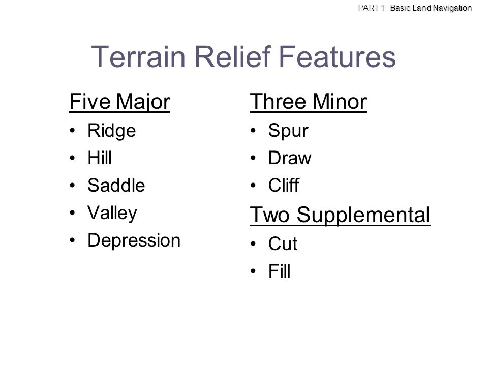 Terrain Relief Features Five Major Ridge Hill Saddle Valley Depression Three Minor Spur Draw Cliff Two Supplemental Cut Fill Basic Land Navigation PAR