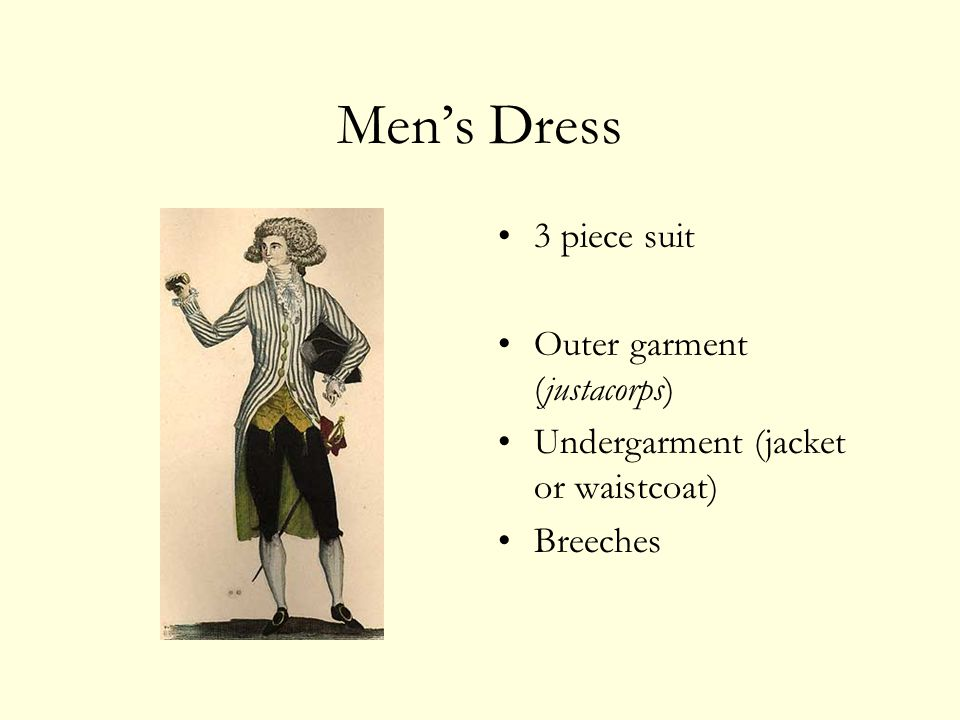 Mens Dress 3 piece suit Outer garment (justacorps) Undergarment (jacket or waistcoat) Breeches