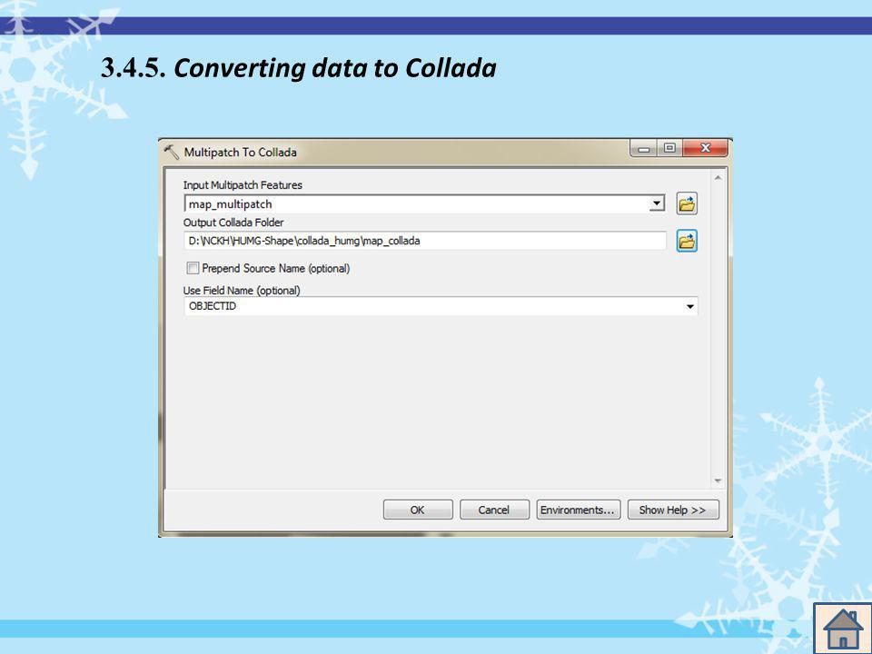 3.4.5. Converting data to Collada