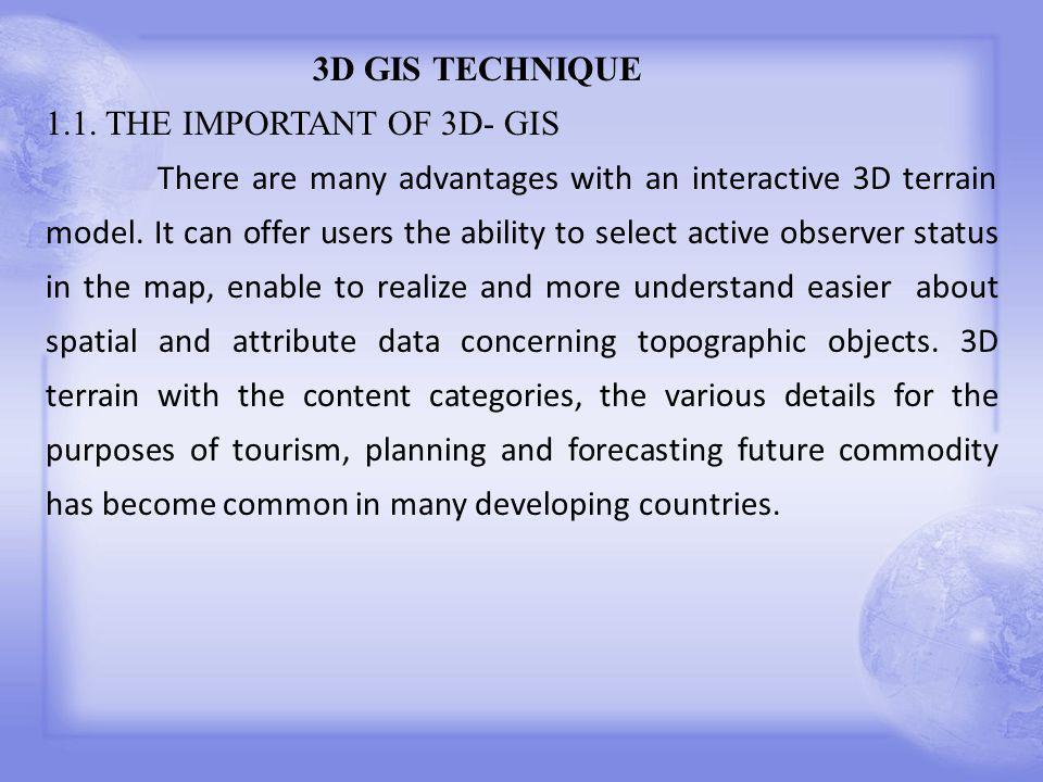 3D GIS TECHNIQUE 1.1.