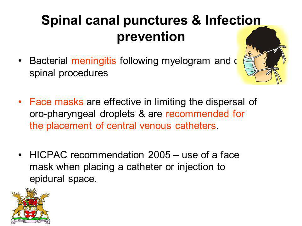 Spinal canal punctures & Infection prevention Bacterial meningitis following myelogram and other spinal procedures Face masks are effective in limitin
