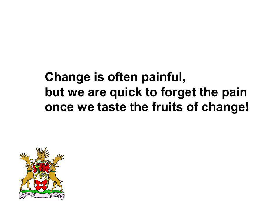 Change is often painful, but we are quick to forget the pain once we taste the fruits of change!