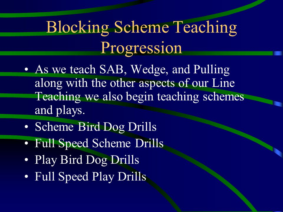 Blocking Scheme Teaching Progression As we teach SAB, Wedge, and Pulling along with the other aspects of our Line Teaching we also begin teaching sche