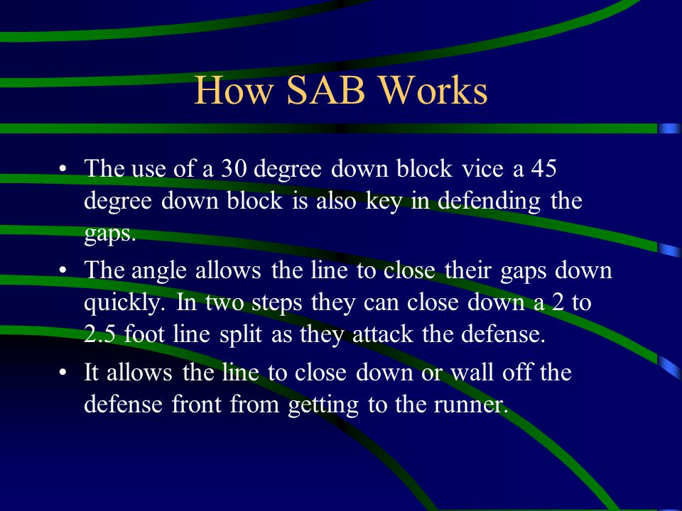 How SAB Works The use of a 30 degree down block vice a 45 degree down block is also key in defending the gaps. The angle allows the line to close thei