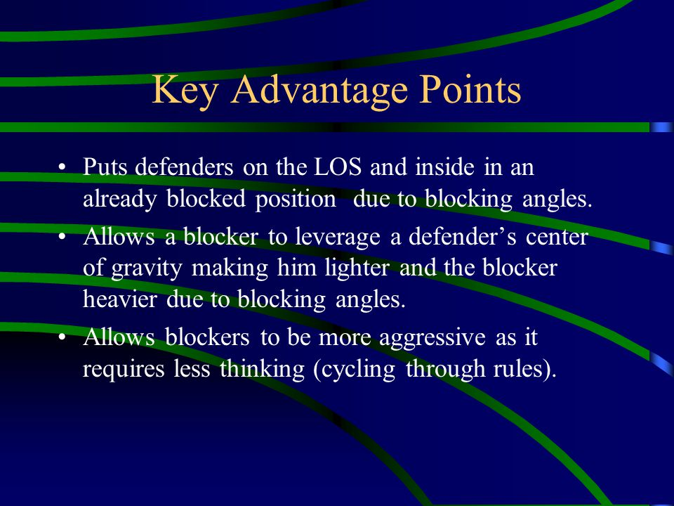 Key Advantage Points Puts defenders on the LOS and inside in an already blocked position due to blocking angles. Allows a blocker to leverage a defend