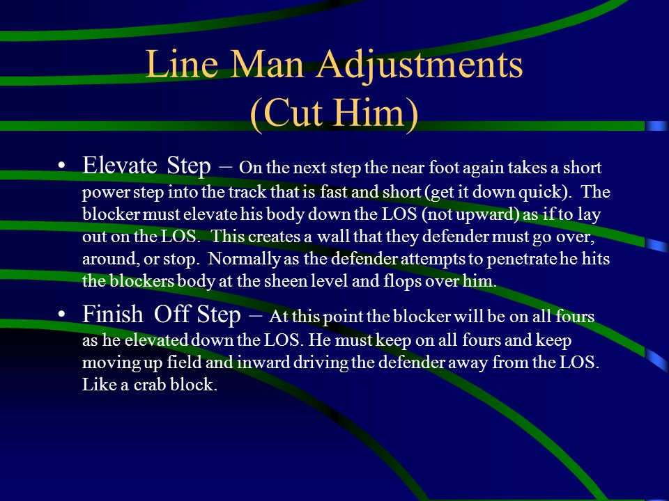 Line Man Adjustments (Cut Him) Elevate Step – On the next step the near foot again takes a short power step into the track that is fast and short (get