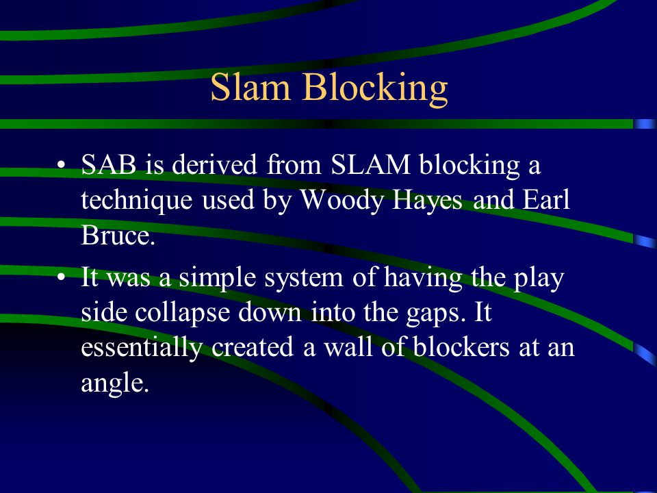 Part Adjustment LEAD – FB lead blocks WHAM – WB lead blocks SUPER – QB lead blocks BLAST – FB and WB lead blocks.