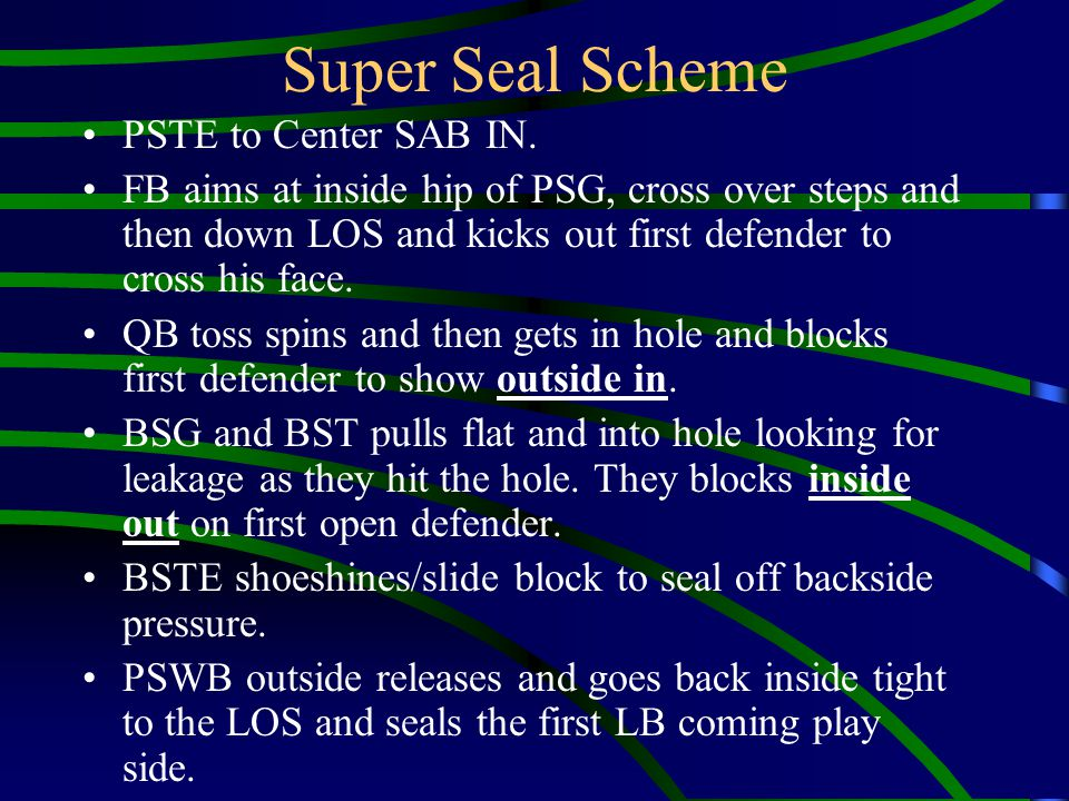 PSTE to Center SAB IN. FB aims at inside hip of PSG, cross over steps and then down LOS and kicks out first defender to cross his face. QB toss spins