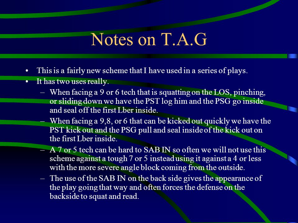 Notes on T.A.G This is a fairly new scheme that I have used in a series of plays. It has two uses really. –When facing a 9 or 6 tech that is squatting