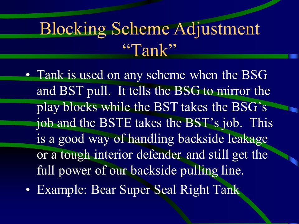 Blocking Scheme Adjustment Tank Tank is used on any scheme when the BSG and BST pull. It tells the BSG to mirror the play blocks while the BST takes t