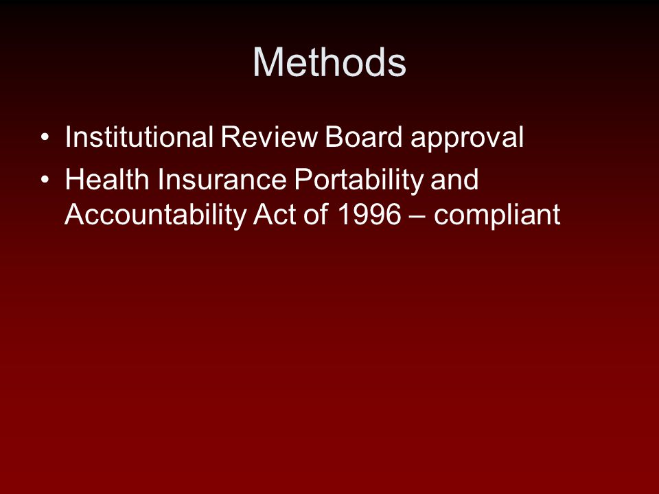 Methods Institutional Review Board approval Health Insurance Portability and Accountability Act of 1996 – compliant