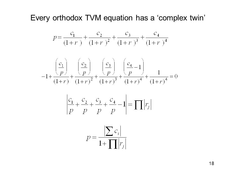 18 Every orthodox TVM equation has a complex twin