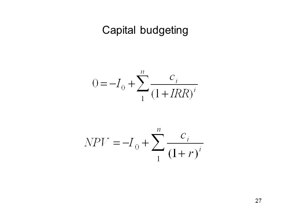 27 Capital budgeting