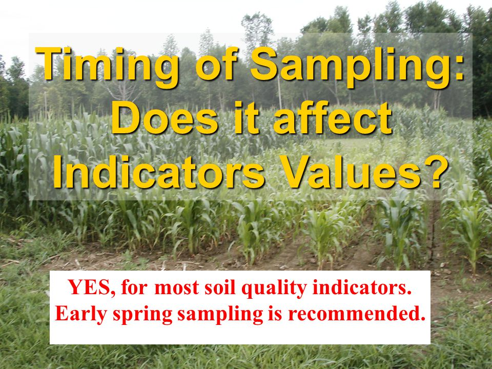 Timing of Sampling: Does it affect Indicators Values? YES, for most soil quality indicators. Early spring sampling is recommended.