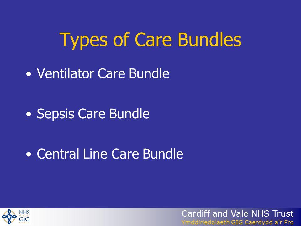 Cardiff and Vale NHS Trust Ymddiriedolaeth GIG Caerdydd ar Fro Types of Care Bundles Ventilator Care Bundle Sepsis Care Bundle Central Line Care Bundl