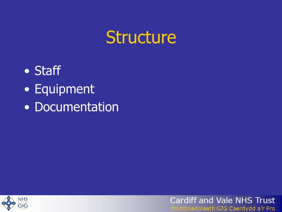 Cardiff and Vale NHS Trust Ymddiriedolaeth GIG Caerdydd ar Fro Structure Staff Equipment Documentation