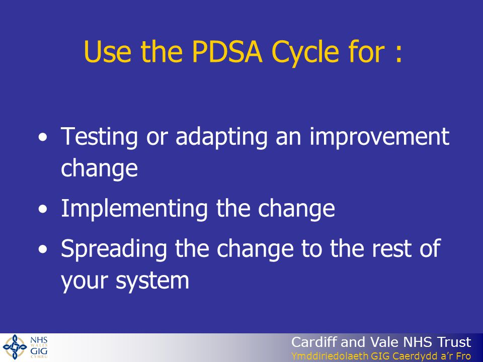 Cardiff and Vale NHS Trust Ymddiriedolaeth GIG Caerdydd ar Fro Use the PDSA Cycle for : Testing or adapting an improvement change Implementing the change Spreading the change to the rest of your system