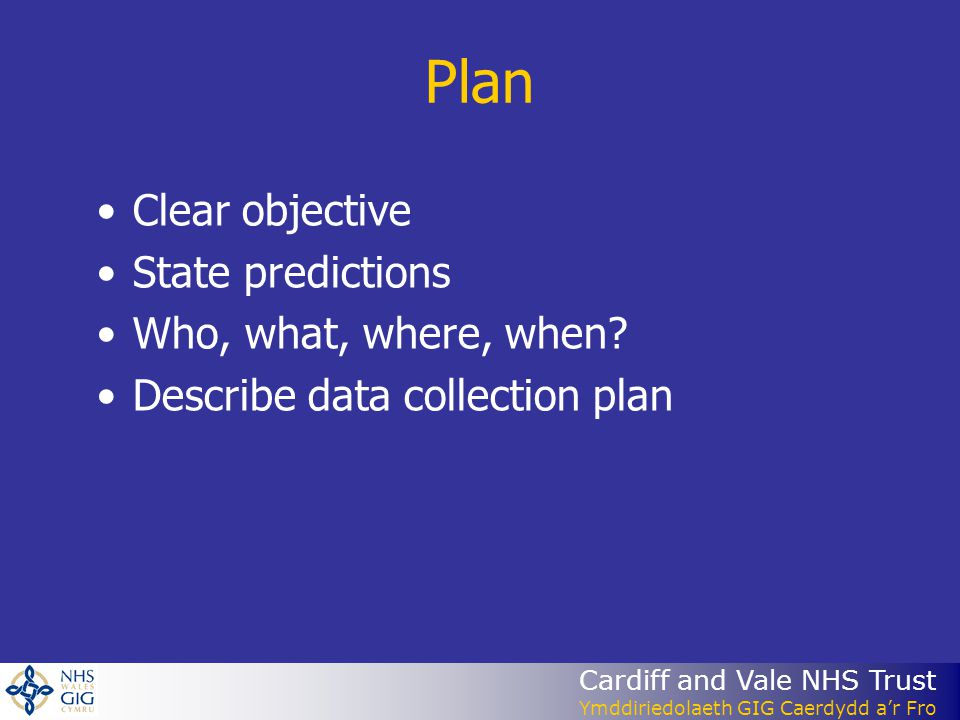 Cardiff and Vale NHS Trust Ymddiriedolaeth GIG Caerdydd ar Fro Plan Clear objective State predictions Who, what, where, when.