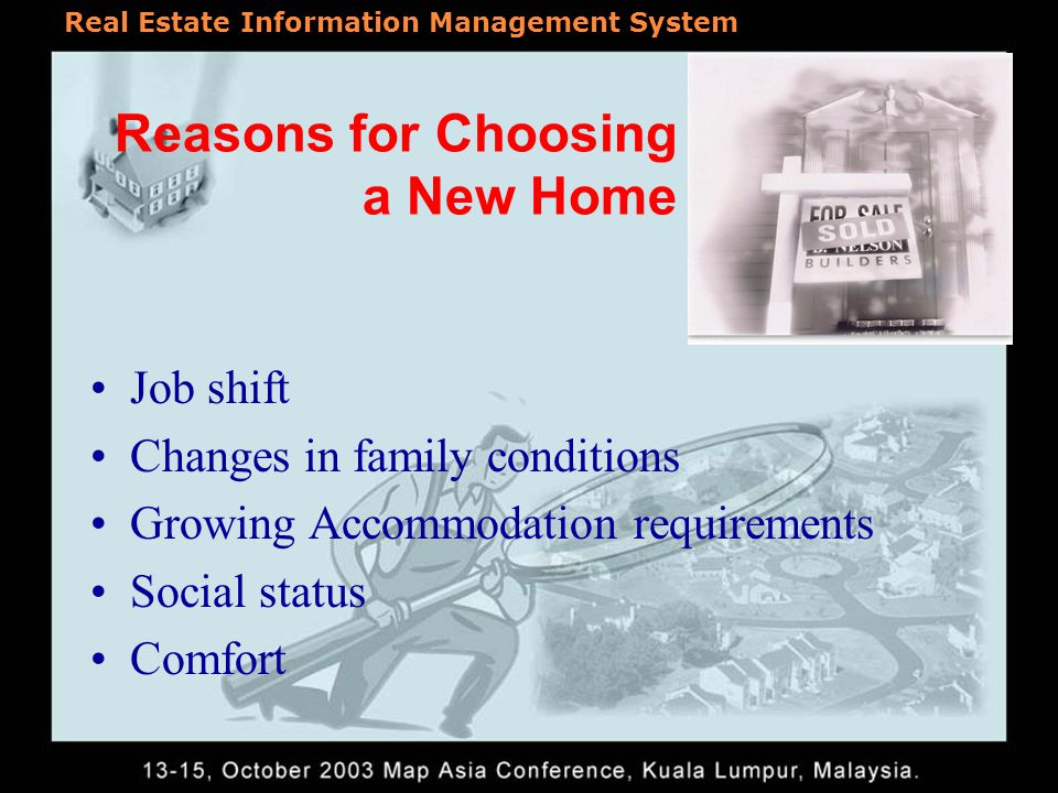 Real Estate Information Management System Reasons for Choosing a New Home Job shift Changes in family conditions Growing Accommodation requirements Social status Comfort