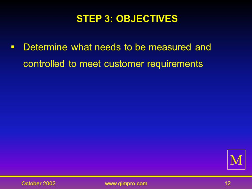 October 2002www.qimpro.com12 STEP 3: OBJECTIVES Determine what needs to be measured and controlled to meet customer requirements M