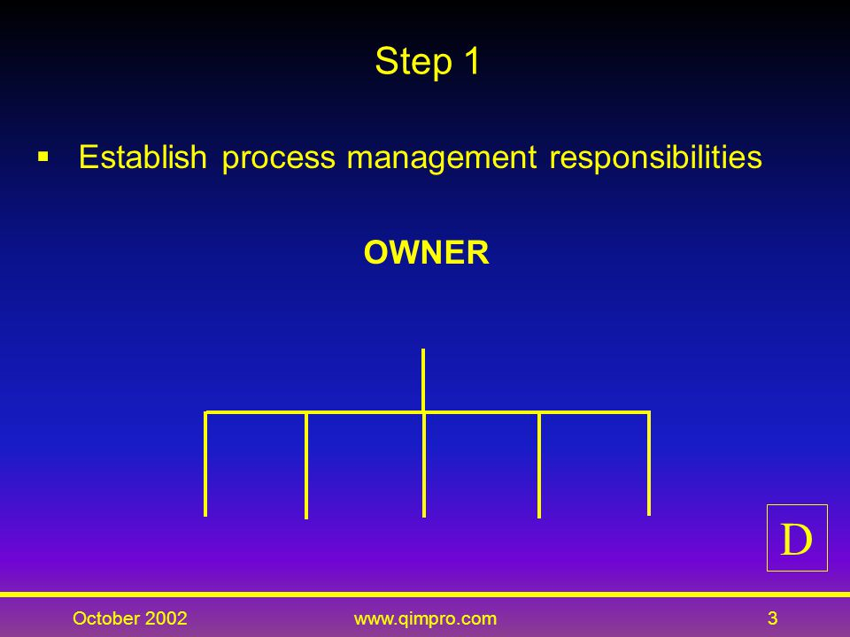 October 2002www.qimpro.com4 STEP 1: OBJECTIVES Identify the owner in charge of the end-to-end process Identify responsibility of all process members D
