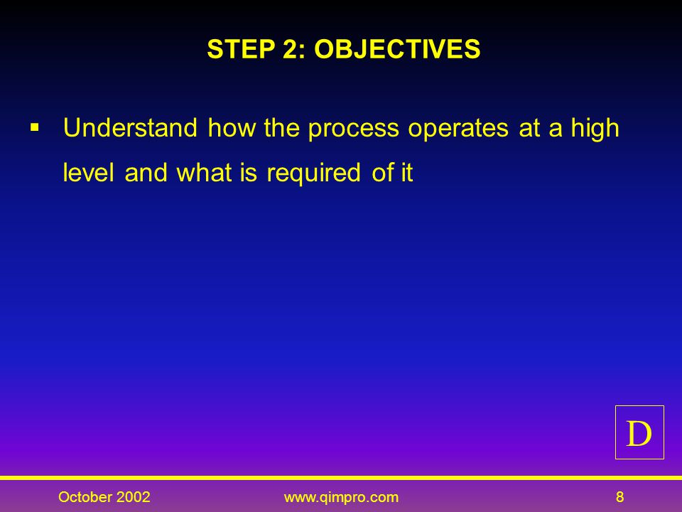 October 2002www.qimpro.com9 STEP 2: KEY ACTIVITIES Define process boundaries and major groups, outputs and customers, inputs and suppliers, and subprocesses and flows Conduct customer needs analysis Define customer requirements and communicate your own requirements to suppliers D