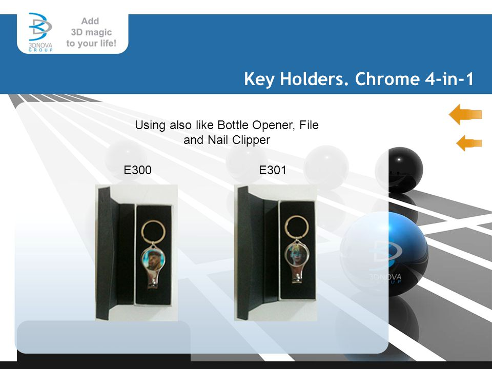 Key Holders. Chrome 4-in-1 E300E301 Using also like Bottle Opener, File and Nail Clipper