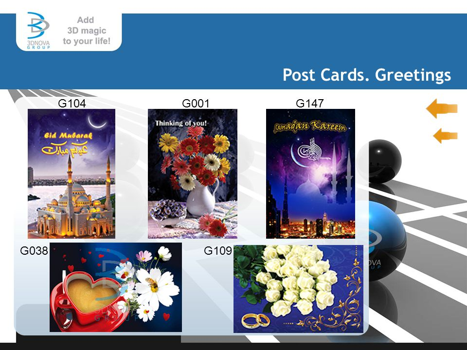 Post Cards. Greetings G104 G147 G038G109 G001