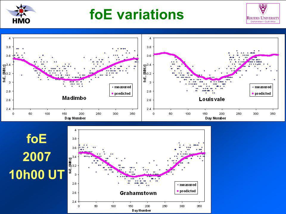 2007 10h00 UT foE foE variations