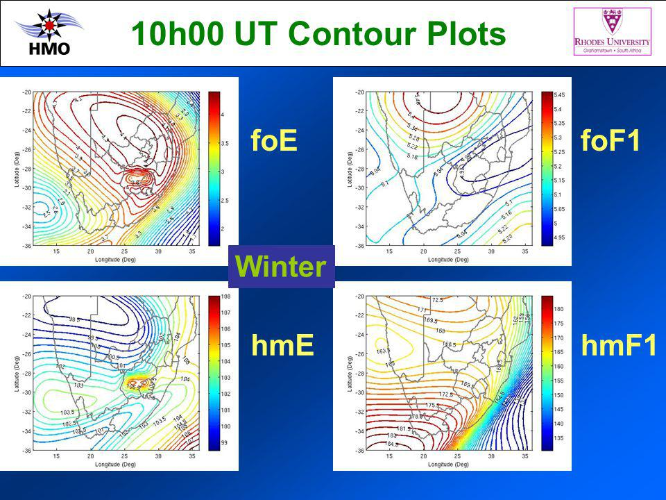 foE hmE foF1 hmF1 Winter 10h00 UT Contour Plots