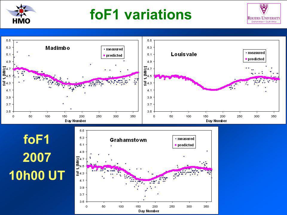 foF1 variations 2007 10h00 UT foF1