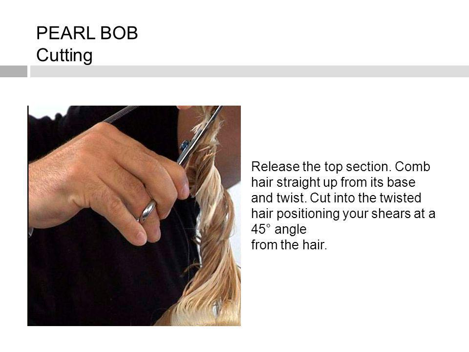 Release the top section. Comb hair straight up from its base and twist. Cut into the twisted hair positioning your shears at a 45° angle from the hair