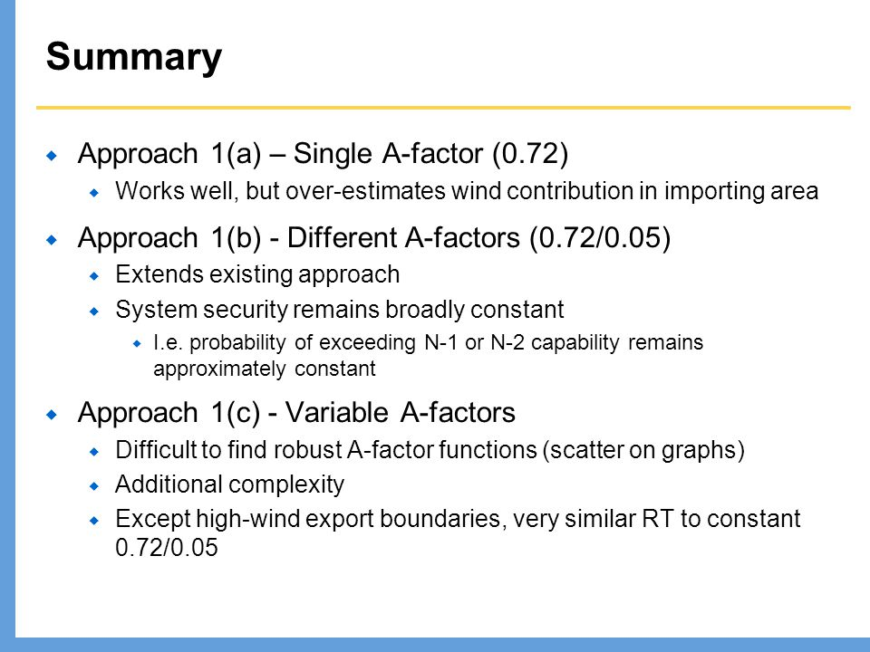 Summary Approach 1(a) – Single A-factor (0.72) Works well, but over-estimates wind contribution in importing area Approach 1(b) - Different A-factors