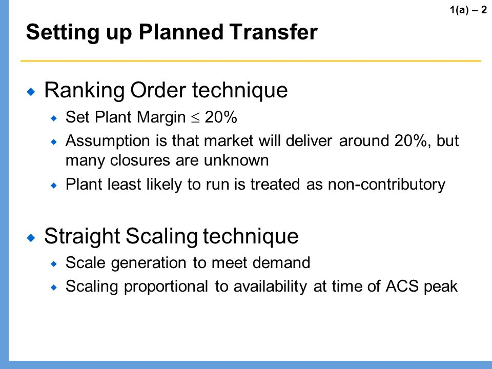 Setting up Planned Transfer Ranking Order technique Set Plant Margin 20% Assumption is that market will deliver around 20%, but many closures are unkn