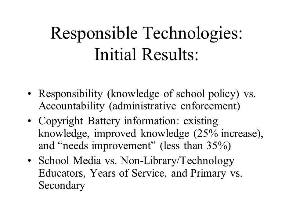 Responsible Technologies: Initial Results: Responsibility (knowledge of school policy) vs.