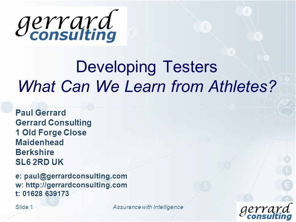 Developing Testers What Can We Learn from Athletes.