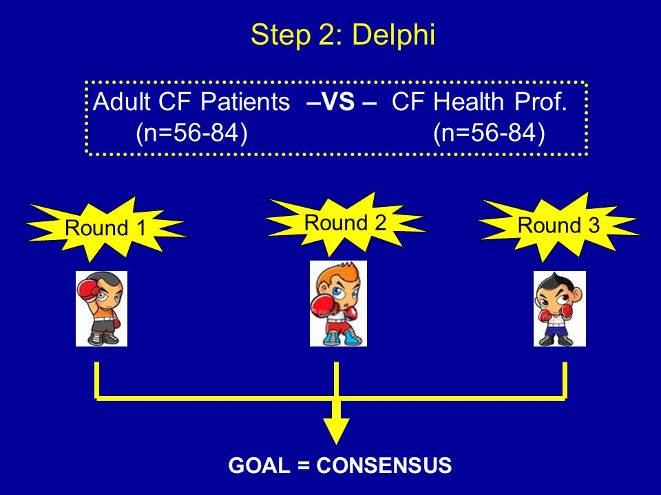 Step 2: Delphi Round 1 Round 2 Round 3 GOAL = CONSENSUS Adult CF Patients –VS – CF Health Prof. (n=56-84) (n=56-84)