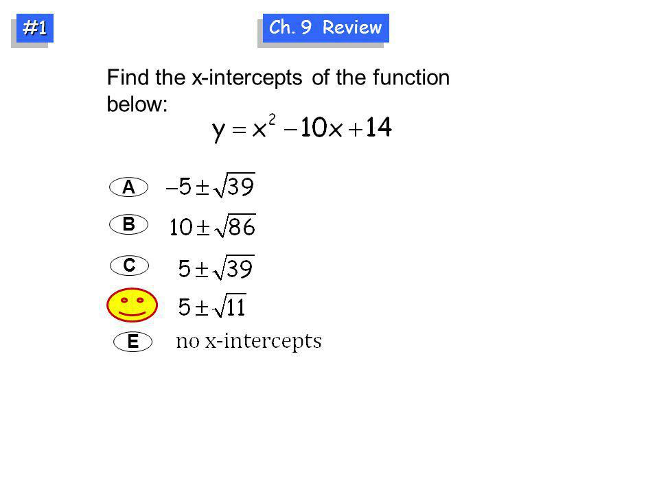 Find the x-intercepts of the function below: A B C D Ch. 9 Review #1#1 E