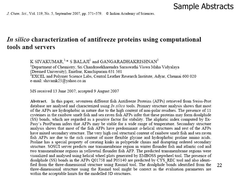 22 Sample Abstracts