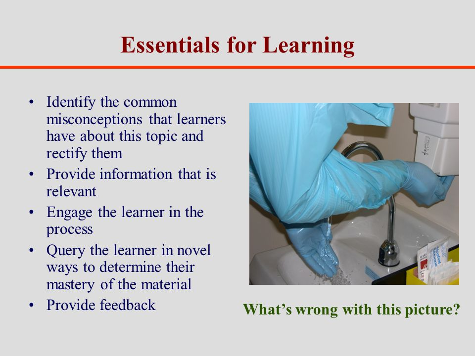 Essentials for Learning Identify the common misconceptions that learners have about this topic and rectify them Provide information that is relevant Engage the learner in the process Query the learner in novel ways to determine their mastery of the material Provide feedback Whats wrong with this picture