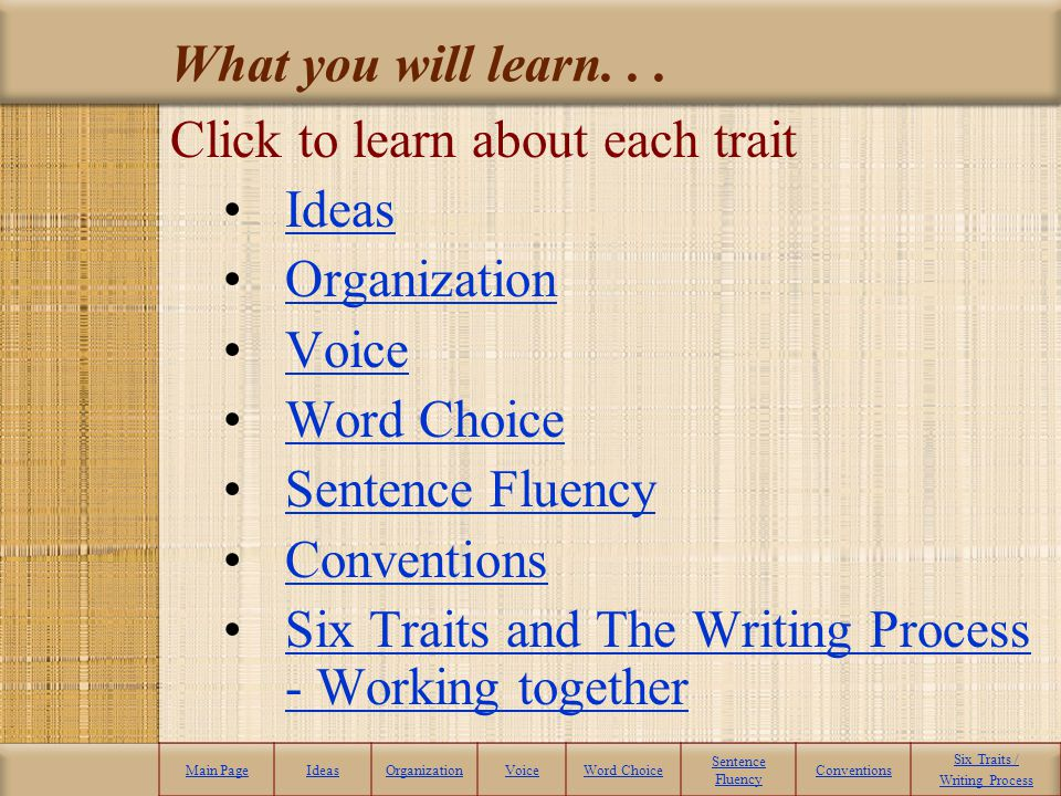 Transition words and phrases Main PageIdeasOrganizationVoiceWord Choice Sentence Fluency Conventions Six Traits / Writing Process Smooth Fluency in an Essay Activity - Remember, in order to create a smooth transition from one paragraph to another, a writer should use transition statements to create a bridge from one idea and paragraph to the next.