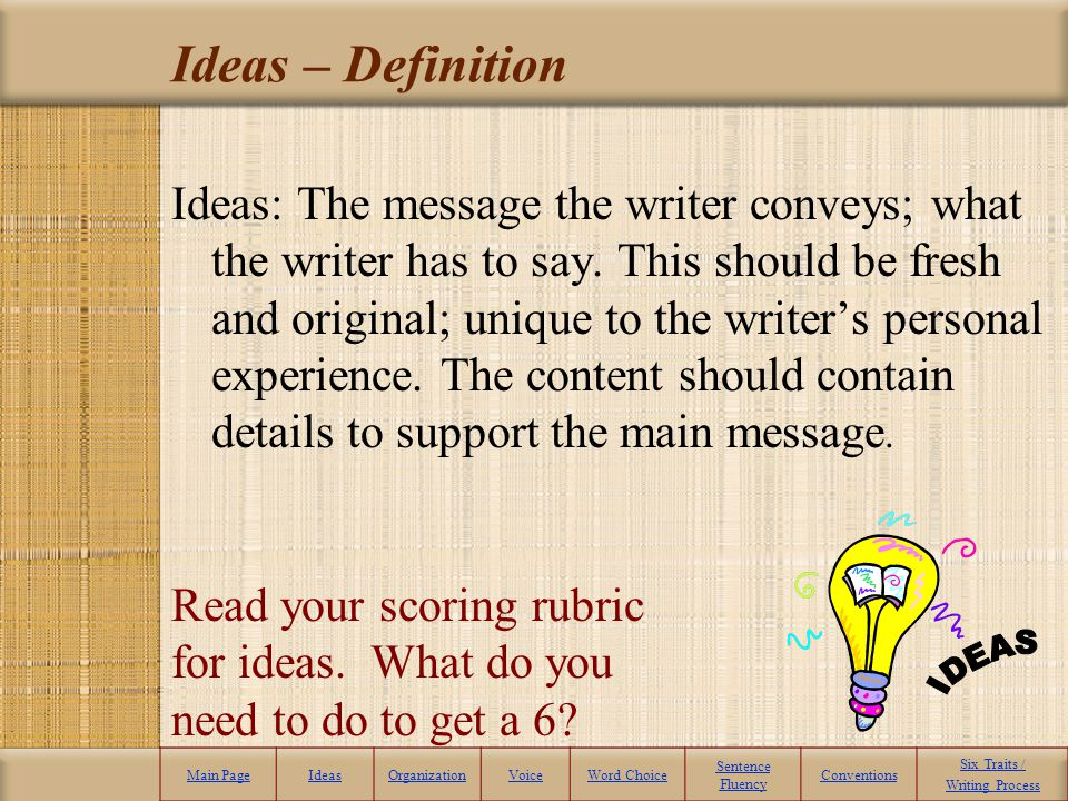 Ideas – Definition Ideas: The message the writer conveys; what the writer has to say.