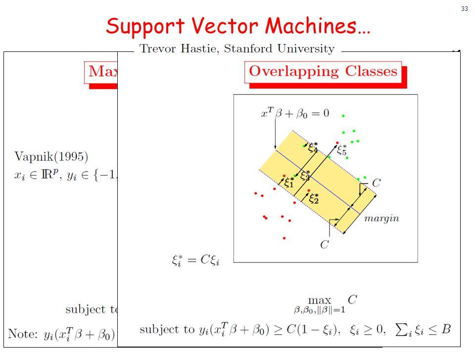 33 33 Support Vector Machines…