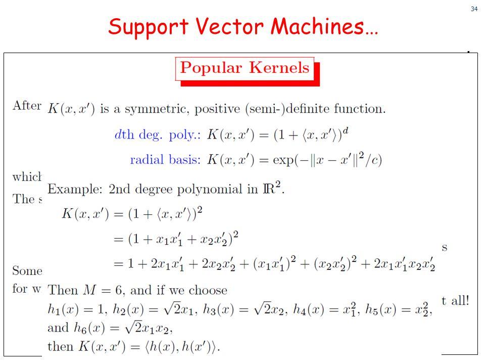 34 34 Support Vector Machines…