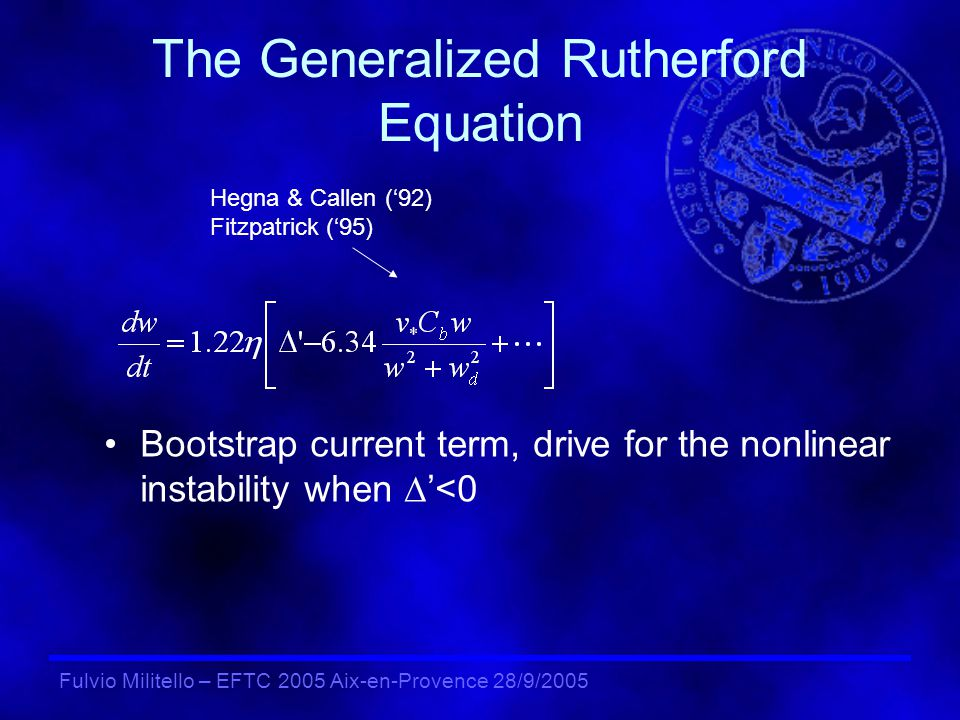 Fulvio Militello – EFTC 2005 Aix-en-Provence 28/9/2005 Simplifying the Model… Averaging Ohms law: The density equation gives: Transport Equation