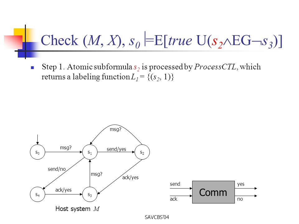 SAVCBS04 Check (M, X), s 0 =E[true U(s 2 EG s 3 )] Step 1.