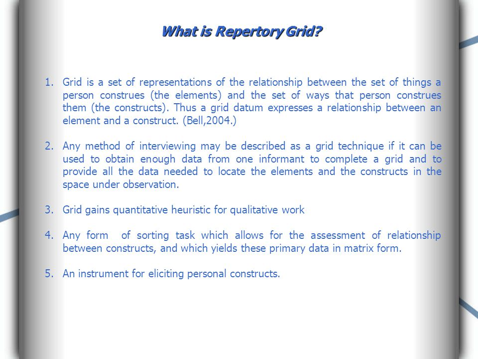 What is Repertory Grid.