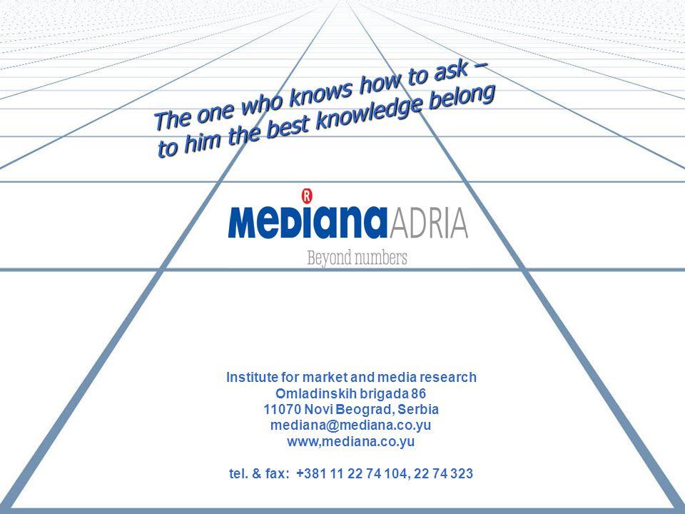 Institute for market and media research Omladinskih brigada 86 11070 Novi Beograd, Serbia mediana@mediana.co.yu www,mediana.co.yu tel.