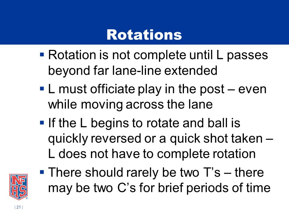 | 21 | Rotations Rotation is not complete until L passes beyond far lane-line extended L must officiate play in the post – even while moving across th